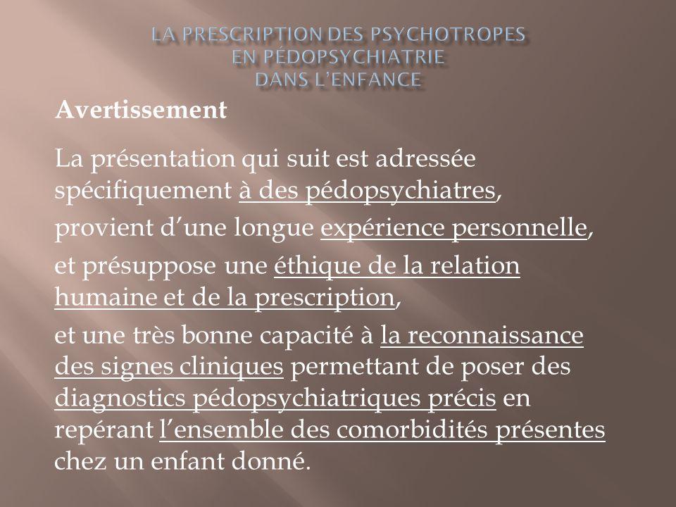 la prescription des Psychotropes en pédopsychiatrie dans l'enfance