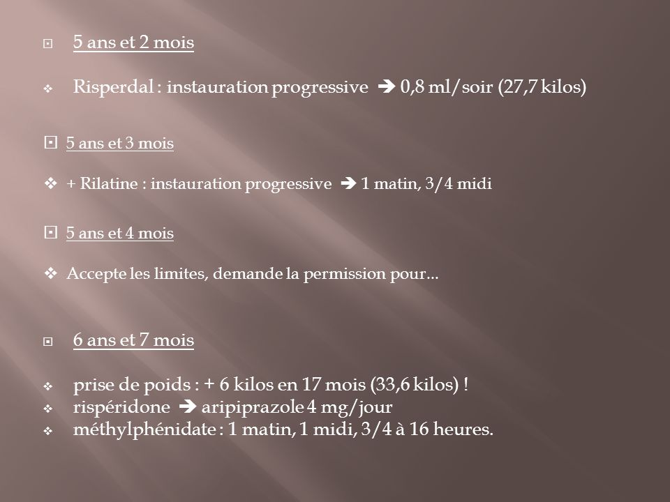 Risperdal : instauration progressive  0,8 ml/soir (27,7 kilos)
