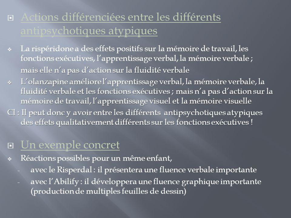Actions différenciées entre les différents antipsychotiques atypiques