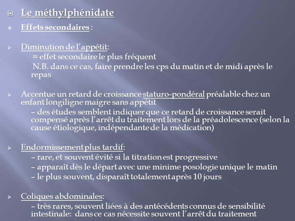 Le méthylphénidate Effets secondaires : Diminution de l'appétit: