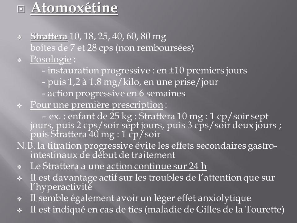 Atomoxétine Strattera 10, 18, 25, 40, 60, 80 mg