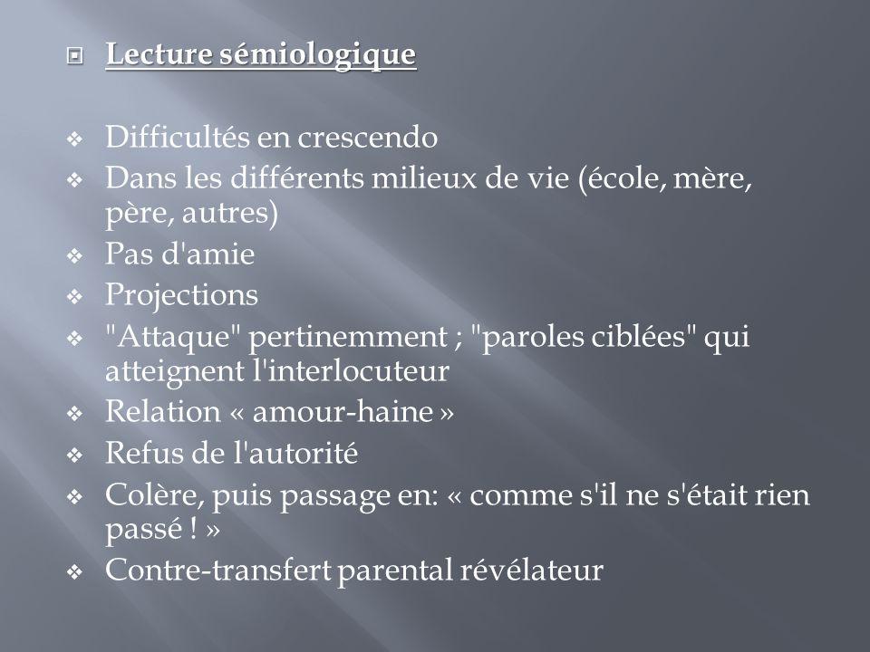 Lecture sémiologique Difficultés en crescendo. Dans les différents milieux de vie (école, mère, père, autres)