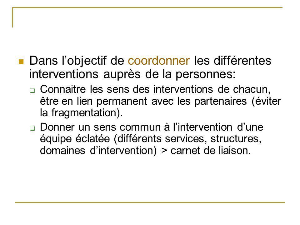Dans l'objectif de coordonner les différentes interventions auprès de la personnes: