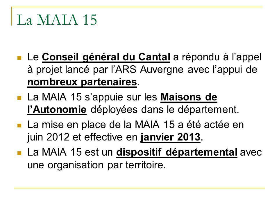 La MAIA 15 Le Conseil général du Cantal a répondu à l'appel à projet lancé par l'ARS Auvergne avec l'appui de nombreux partenaires.