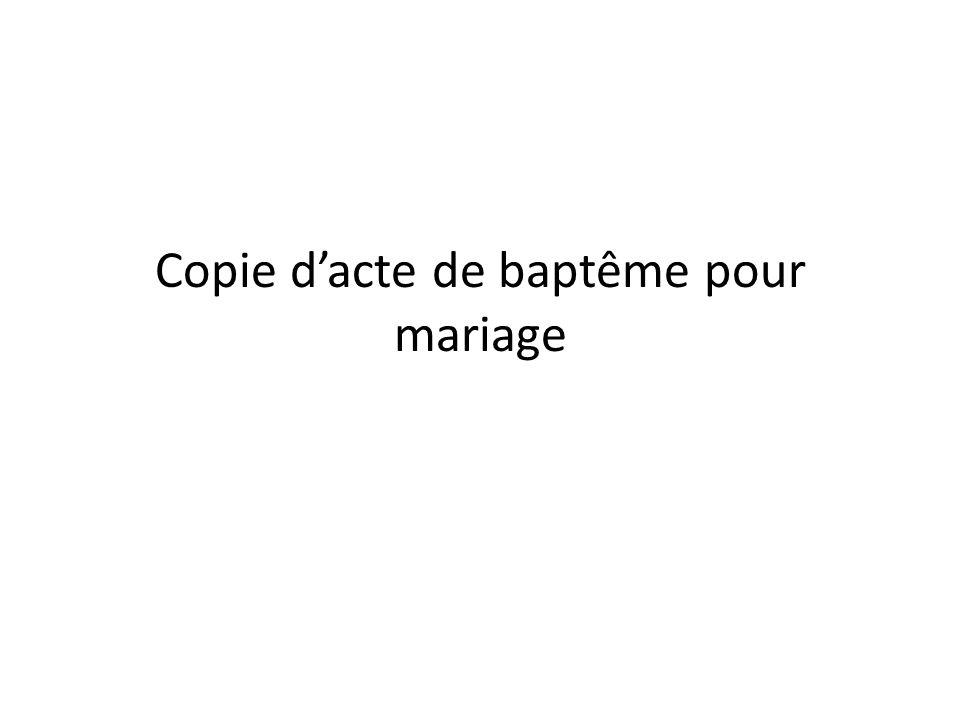 Copie d'acte de baptême pour mariage