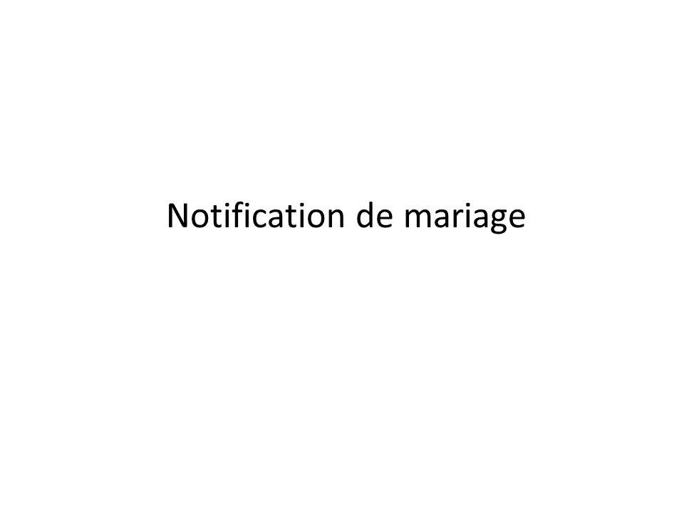 Notification de mariage