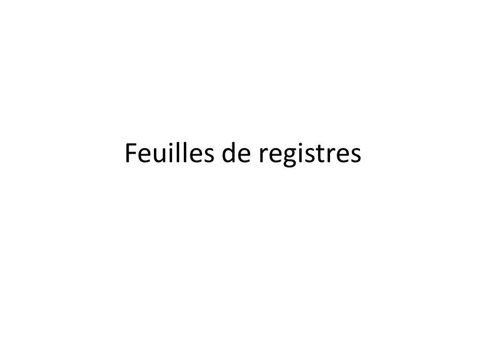 Feuilles de registres