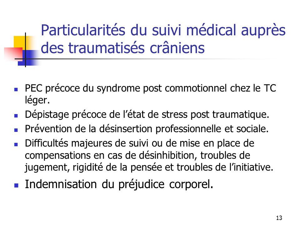 Particularités du suivi médical auprès des traumatisés crâniens