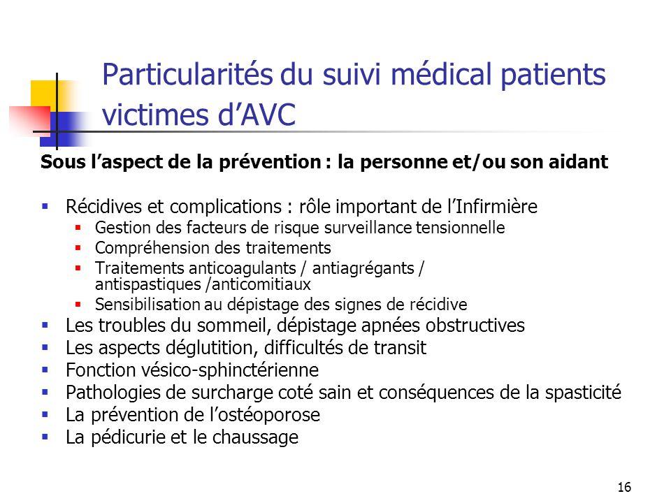Particularités du suivi médical patients victimes d'AVC