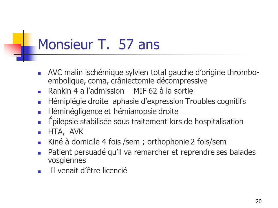 Monsieur T. 57 ans AVC malin ischémique sylvien total gauche d'origine thrombo-embolique, coma, crâniectomie décompressive.
