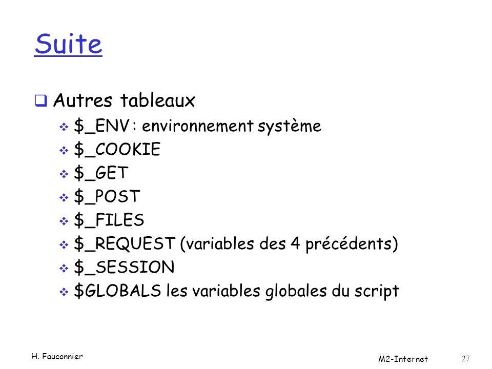 Suite Autres tableaux $_ENV : environnement système $_COOKIE $_GET
