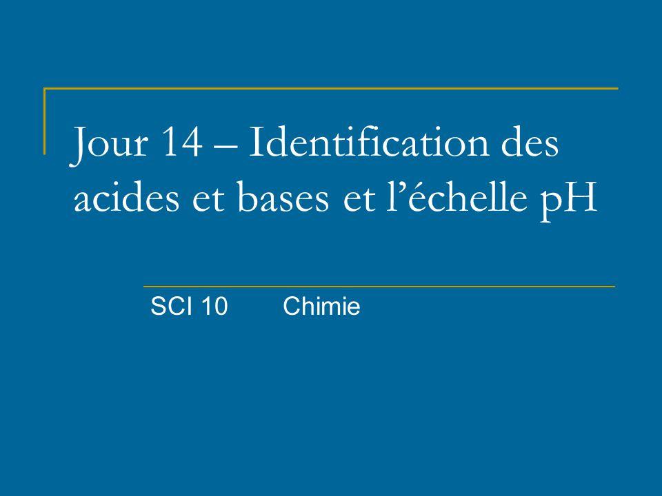 Jour 14 – Identification des acides et bases et l'échelle pH