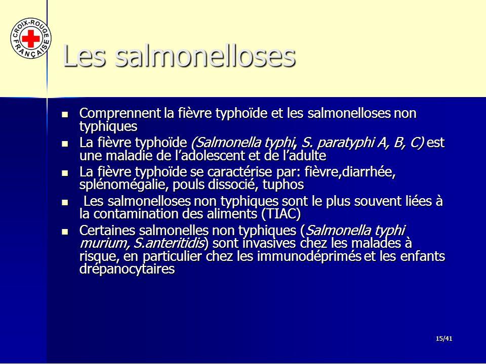 Les salmonelloses Comprennent la fièvre typhoïde et les salmonelloses non typhiques.