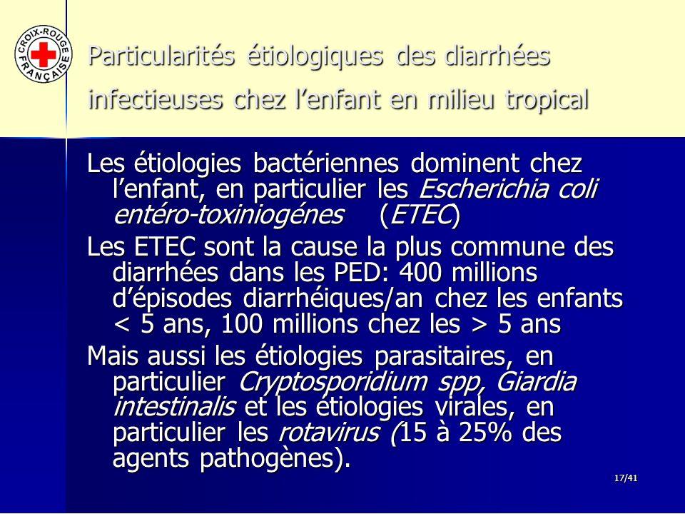 Particularités étiologiques des diarrhées infectieuses chez l'enfant en milieu tropical