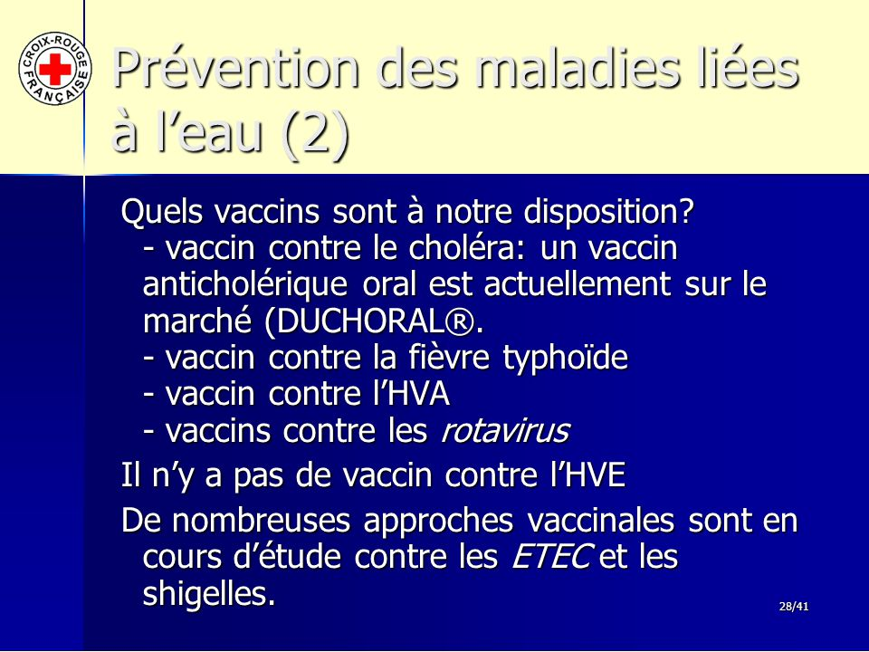 Prévention des maladies liées à l'eau (2)