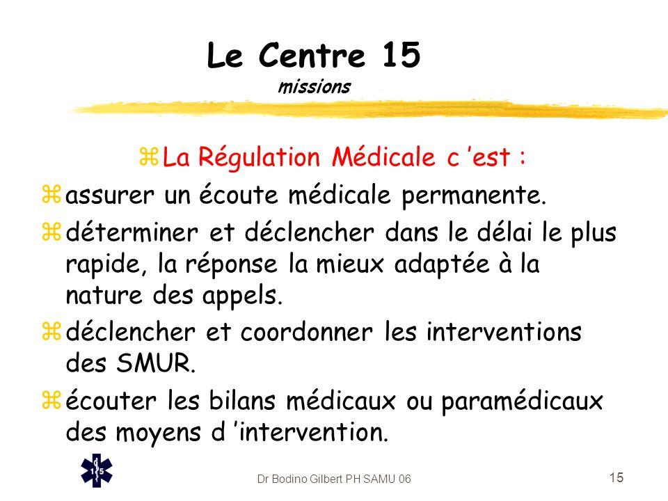 Le Centre 15 missions La Régulation Médicale c 'est :