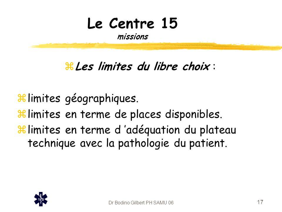 Le Centre 15 missions Les limites du libre choix :