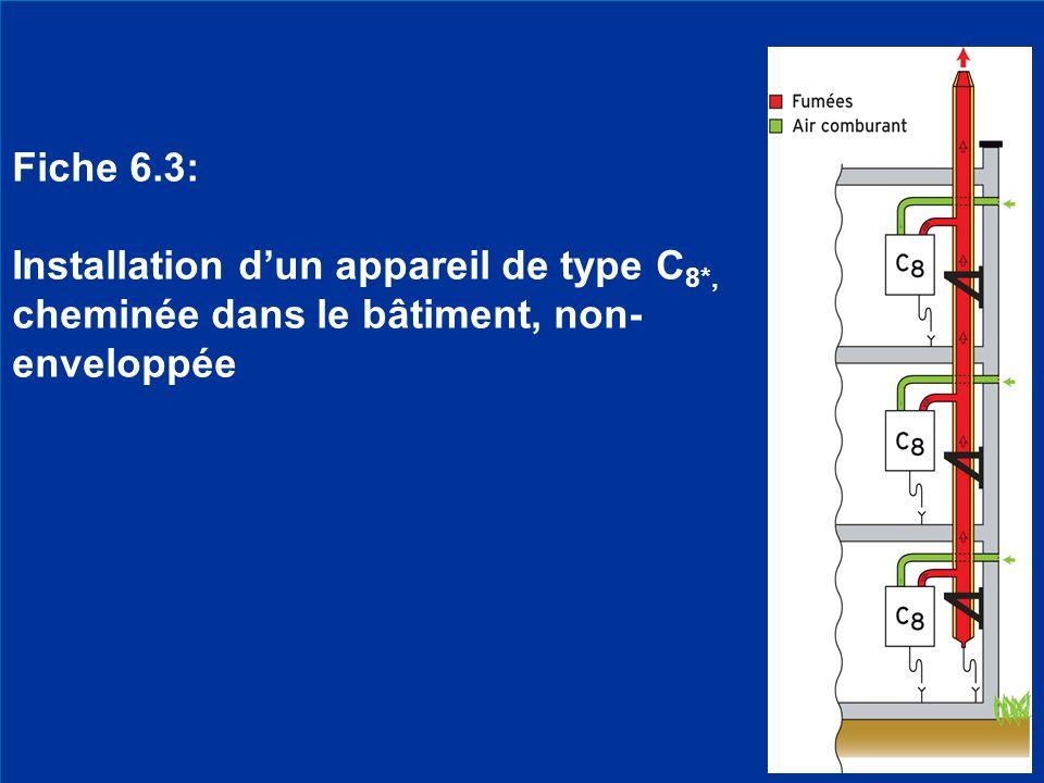 Fiche 6.3: Installation d'un appareil de type C8*, cheminée dans le bâtiment, non-enveloppée. Rénovation cheminées partie 12.