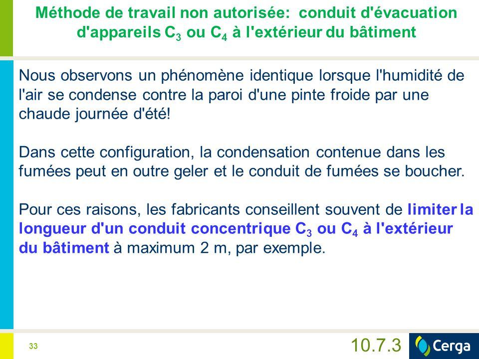 Méthode de travail non autorisée: conduit d évacuation d appareils C3 ou C4 à l extérieur du bâtiment