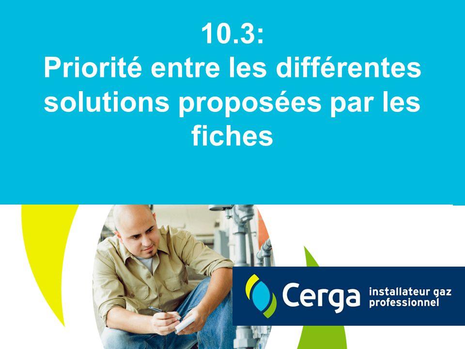 Priorité entre les différentes solutions proposées par les fiches