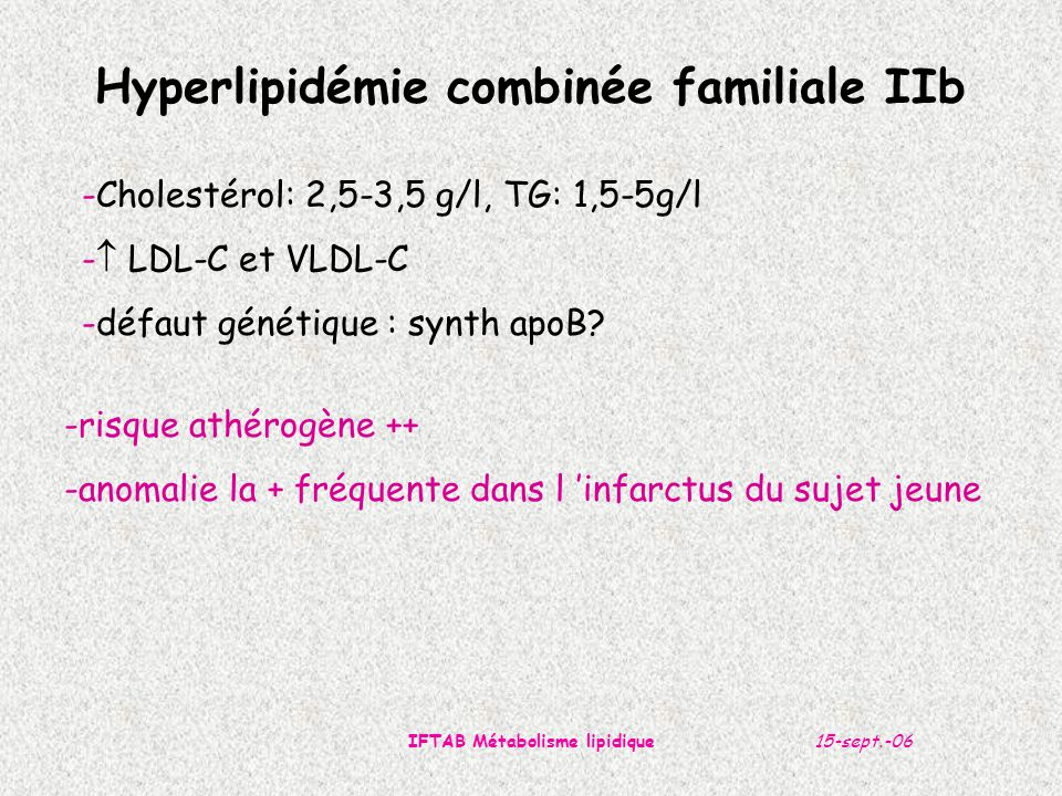 Hyperlipidémie combinée familiale IIb