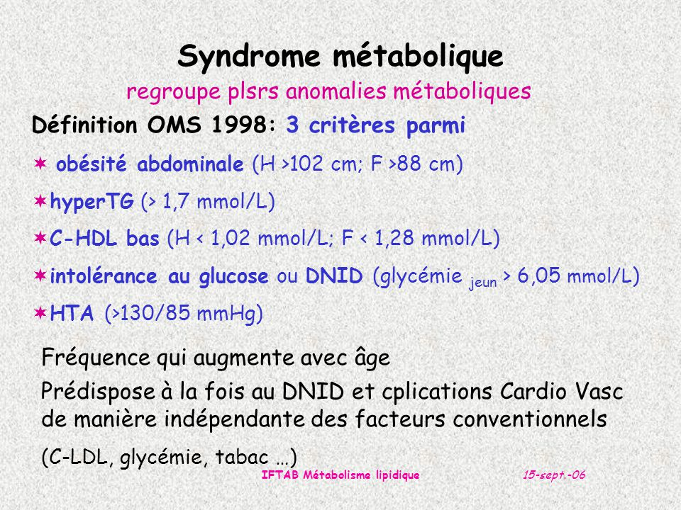 IFTAB Métabolisme lipidique