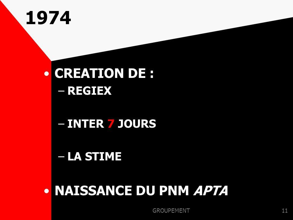 1974 CREATION DE : NAISSANCE DU PNM APTA REGIEX INTER 7 JOURS LA STIME