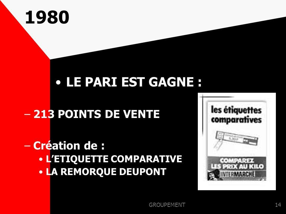 1980 LE PARI EST GAGNE : 213 POINTS DE VENTE Création de :