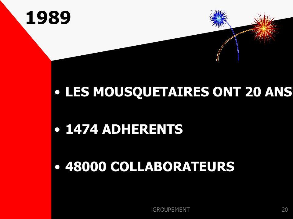 1989 LES MOUSQUETAIRES ONT 20 ANS 1474 ADHERENTS 48000 COLLABORATEURS