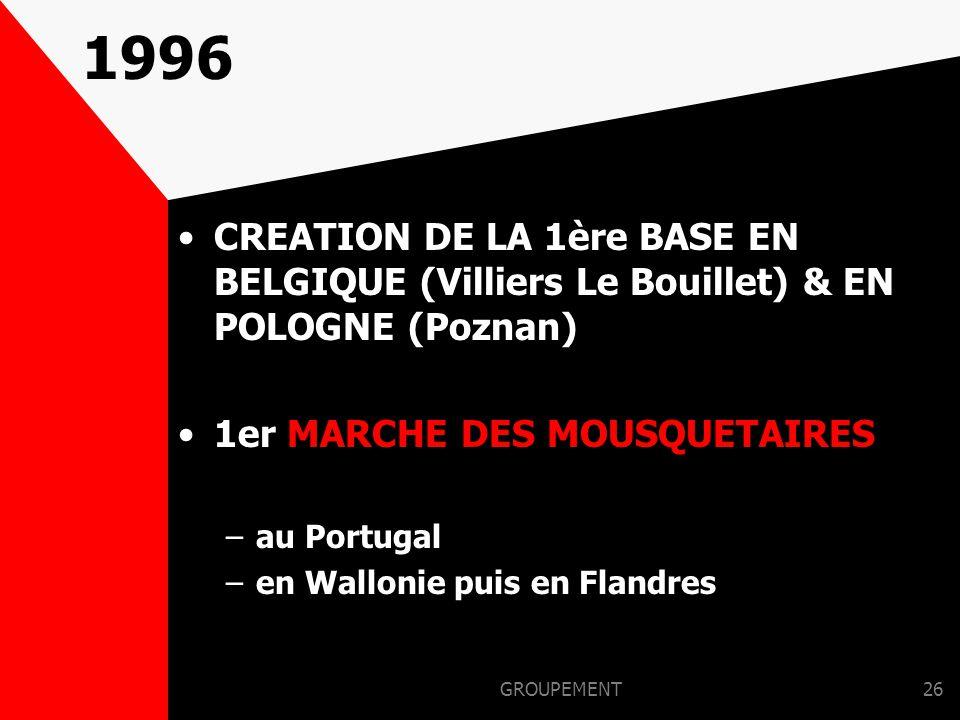 1996 CREATION DE LA 1ère BASE EN BELGIQUE (Villiers Le Bouillet) & EN POLOGNE (Poznan) 1er MARCHE DES MOUSQUETAIRES.