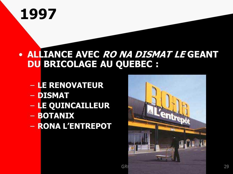 1997 ALLIANCE AVEC RO NA DISMAT LE GEANT DU BRICOLAGE AU QUEBEC :