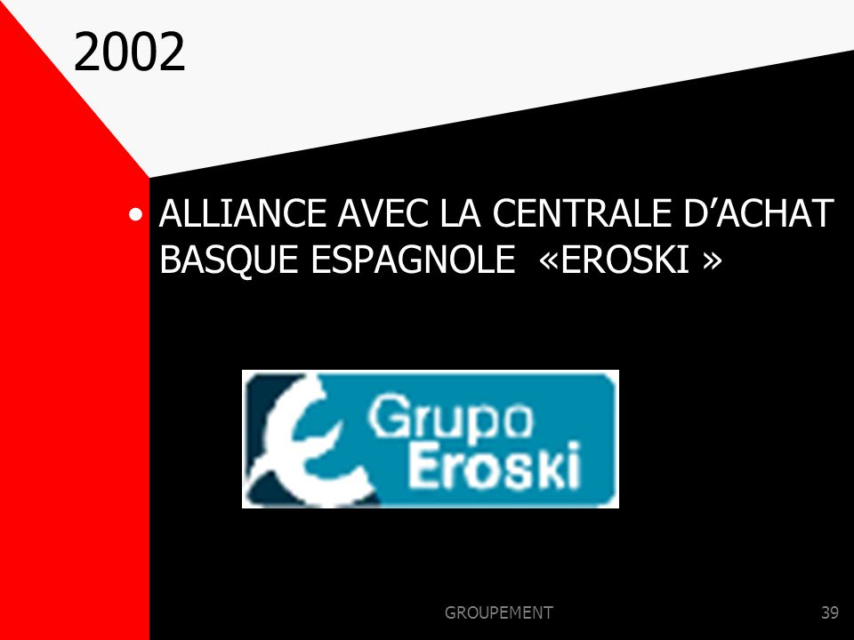 2002 ALLIANCE AVEC LA CENTRALE D'ACHAT BASQUE ESPAGNOLE «EROSKI »