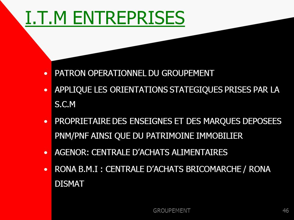 I.T.M ENTREPRISES PATRON OPERATIONNEL DU GROUPEMENT