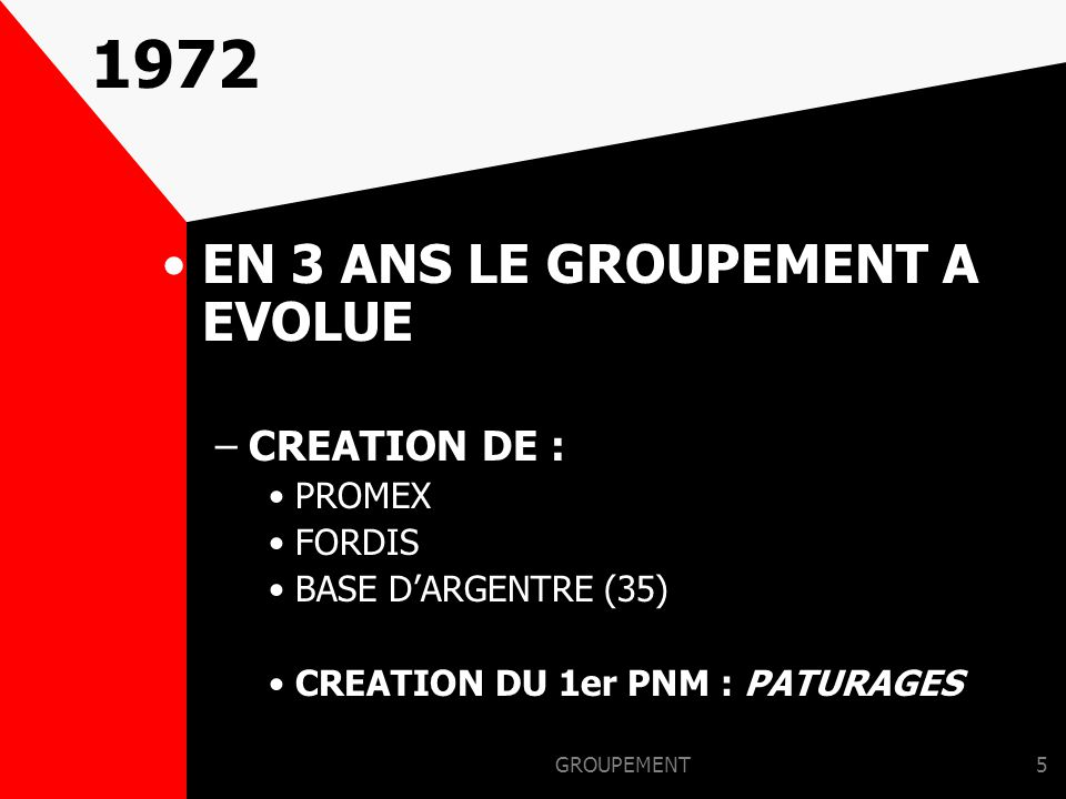1972 EN 3 ANS LE GROUPEMENT A EVOLUE CREATION DE : PROMEX FORDIS