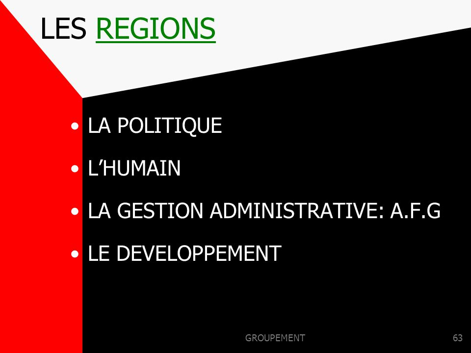 LES REGIONS LA POLITIQUE L'HUMAIN LA GESTION ADMINISTRATIVE: A.F.G