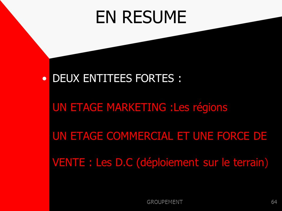 EN RESUME DEUX ENTITEES FORTES : UN ETAGE MARKETING :Les régions