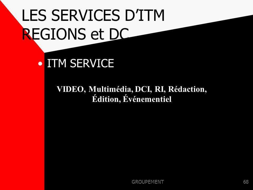 LES SERVICES D'ITM REGIONS et DC