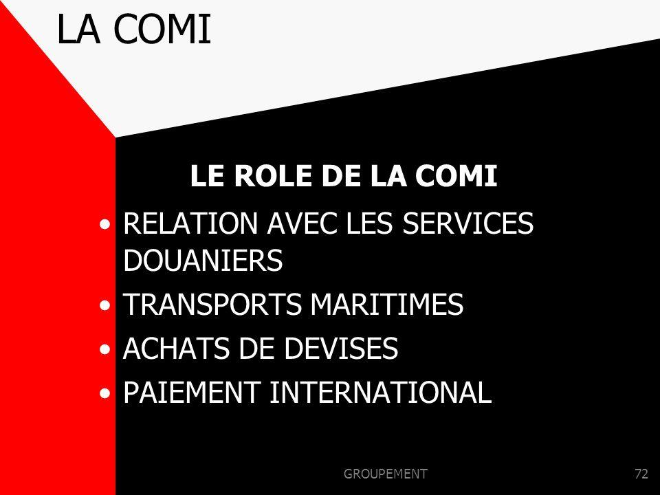 LA COMI LE ROLE DE LA COMI RELATION AVEC LES SERVICES DOUANIERS