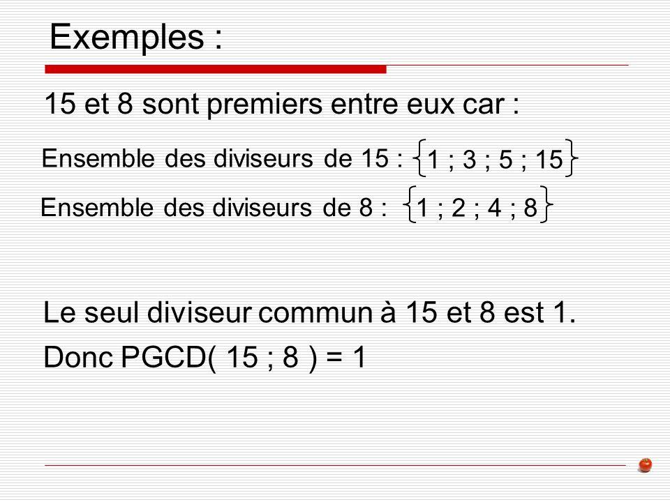 Exemples : 15 et 8 sont premiers entre eux car :