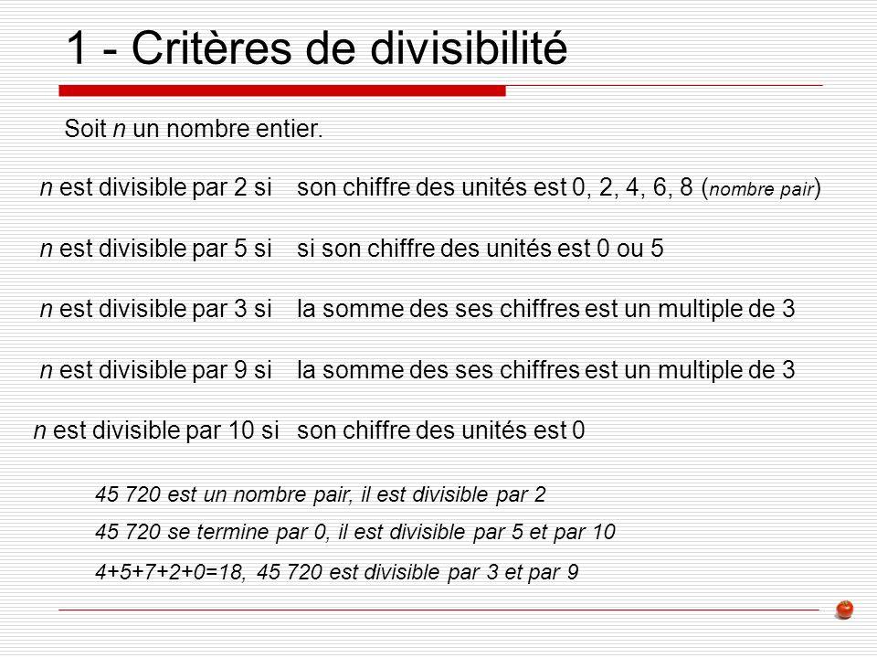 1 - Critères de divisibilité