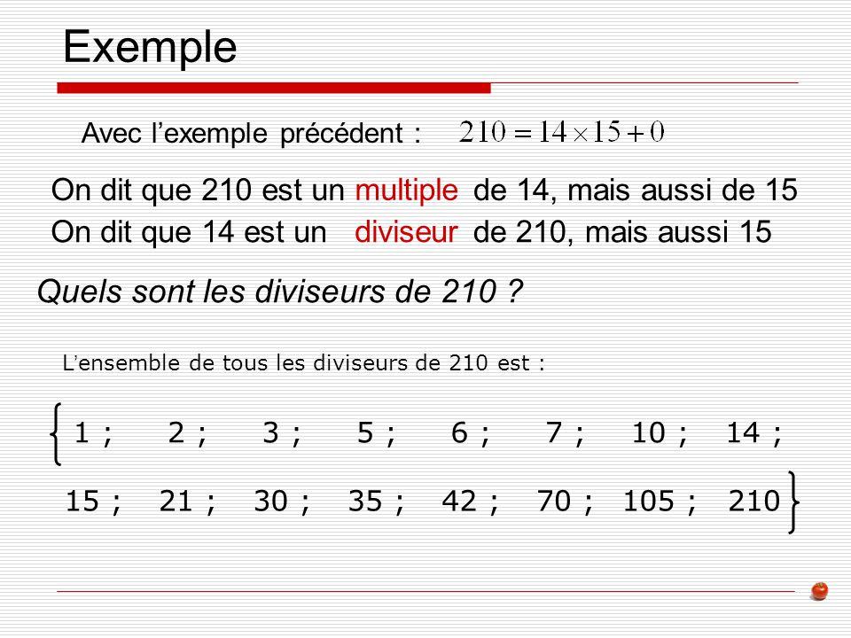 Exemple Quels sont les diviseurs de 210 On dit que 210 est un