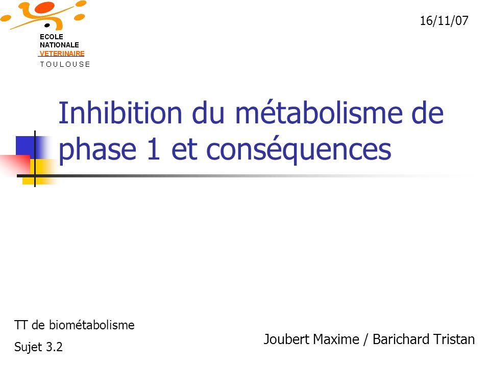 Inhibition du métabolisme de phase 1 et conséquences