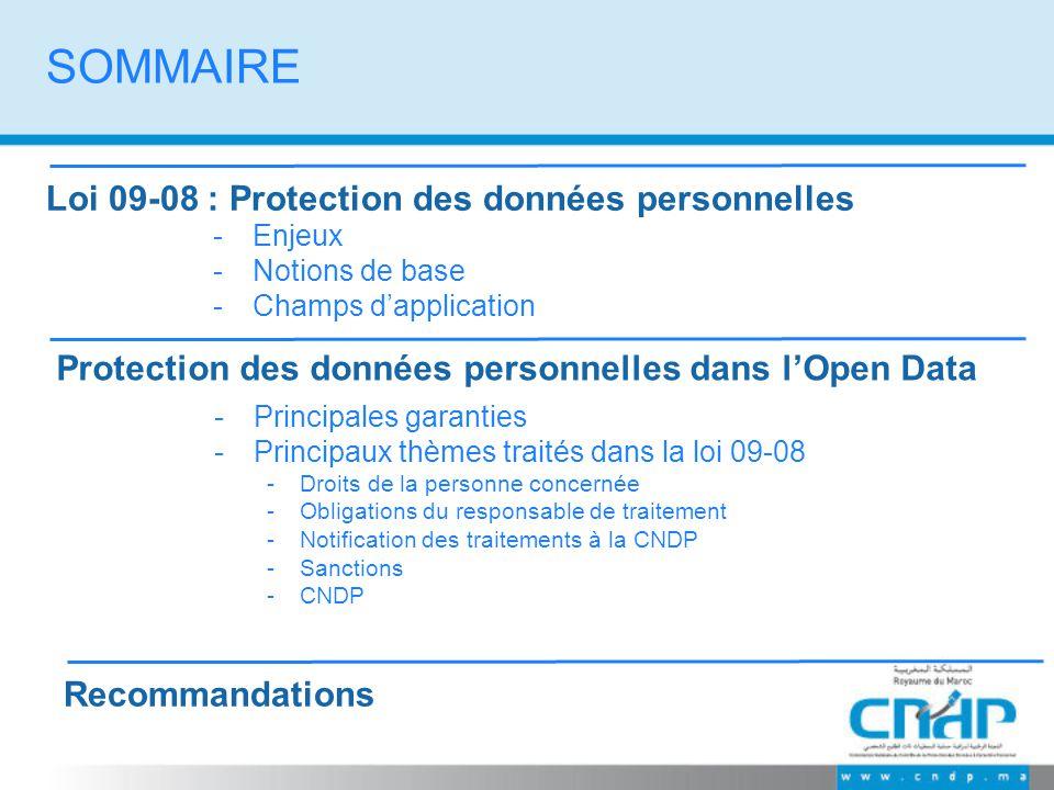 SOMMAIRE Loi 09-08 : Protection des données personnelles