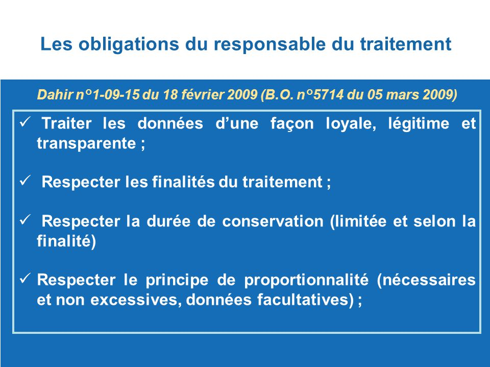 Les obligations du responsable du traitement