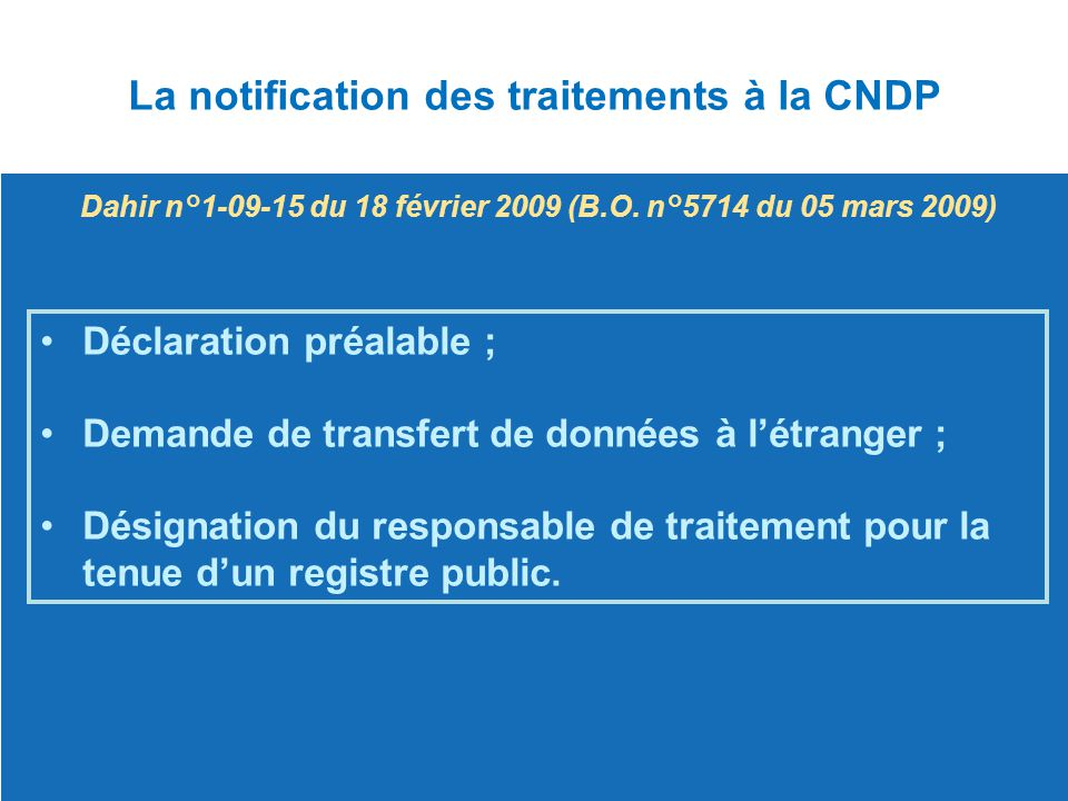 La notification des traitements à la CNDP
