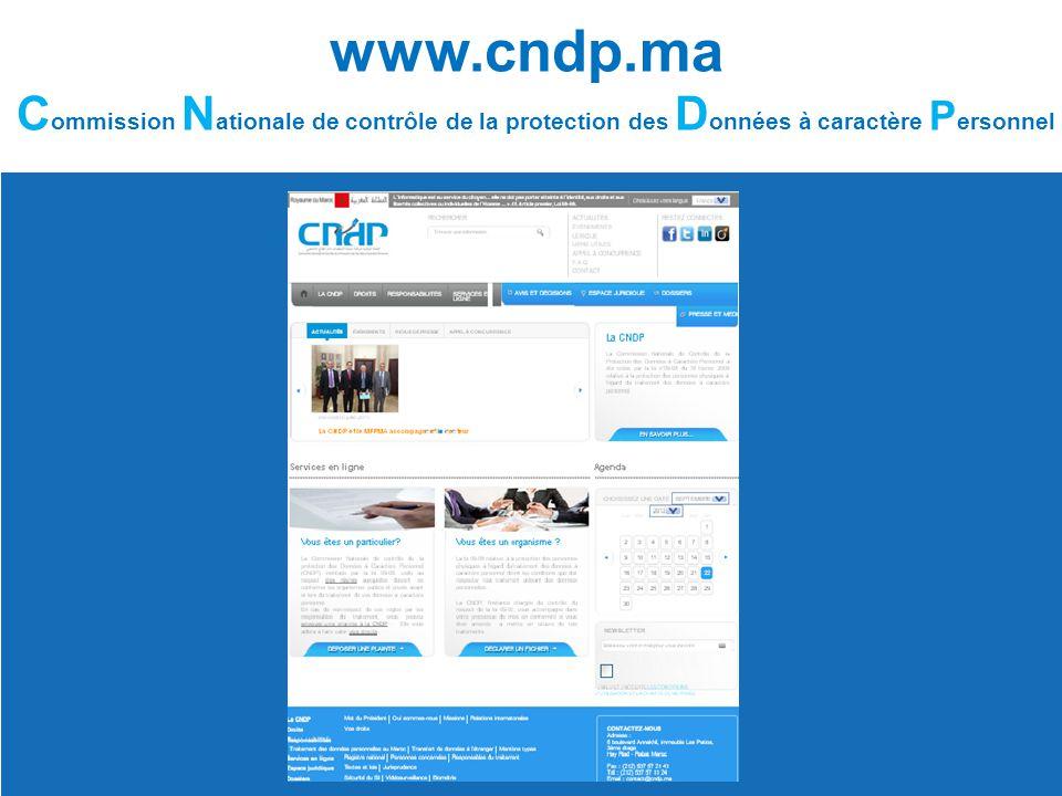 www.cndp.ma Commission Nationale de contrôle de la protection des Données à caractère Personnel