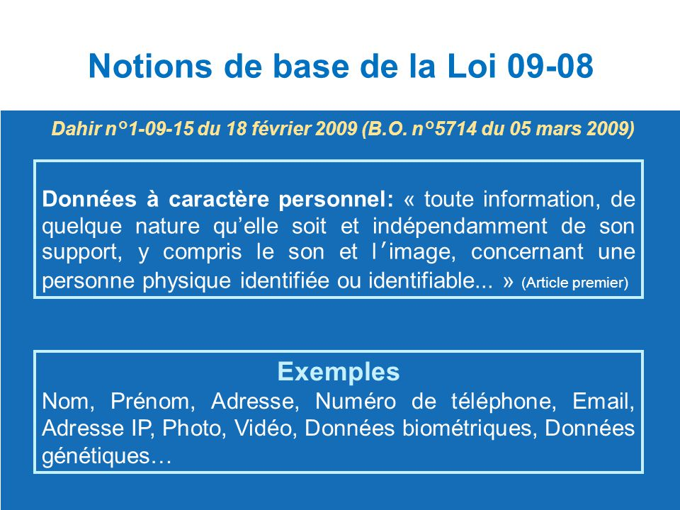 Notions de base de la Loi 09-08