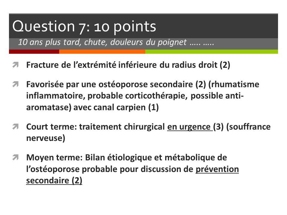 Question 7: 10 points 10 ans plus tard, chute, douleurs du poignet ….. ….. Fracture de l'extrémité inférieure du radius droit (2)