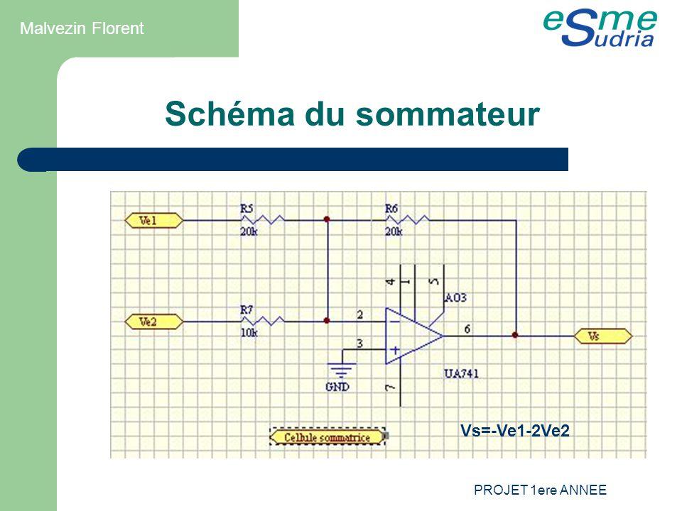 Schéma du sommateur Malvezin Florent Vs=-Ve1-2Ve2 PROJET 1ere ANNEE