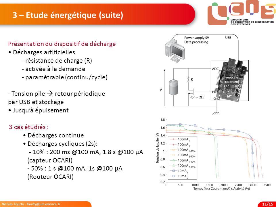 3 – Etude énergétique (suite)